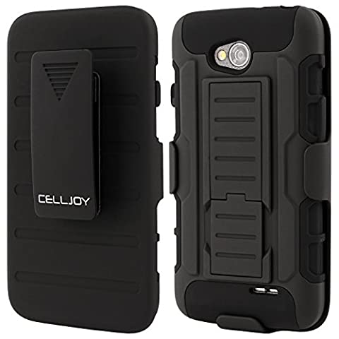 LG L70 Case CellJoy® [Future Armor] [Stealth Black] Hybrid Ultra Fit Dual Protection Cover Skin with Belt Clip Holster For LG Optimus L70 MS323 / Optimus Exceed 2 VS450PP Verizon / MetroPCS / Cricket [Retail (Lg L70 Optimus Black Cases)