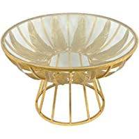 Sagebrook Home 12287 Palm Leaf Metal & Glass Accent Table, 30 X 30 X 17, Gold