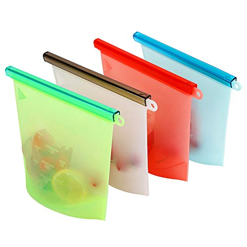 Silicone Food Bag,Reusable Storage Preservation Bags Versatile Cooking Bag Airtight Seal Preservation Bags for Refrigerator Freeze Steamer Microwave Storing Fruits Vegetables Meat Milk (4 Packs)