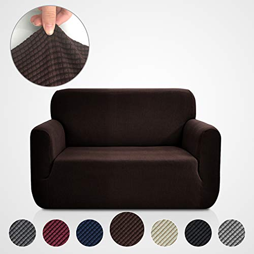 (Rose Home Fashion RHF Jacquard-Stretch Sofa Cover, Slipcover for Leather Couch-Polyester Spandex Sofa Slipcover&Couch Cover for Dogs, 1-Piece Sofa Protector(Loveseat: Chocolate))
