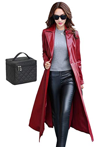 Red Leather Coat - Elezay Women's Red Faux Leather Coat Fur Lining Slim Fit Long Coat Maxi Jacket 12