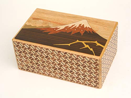 Japanese Puzzle Box 5sun 10steps Kaminari-Fuji and Tsubaki