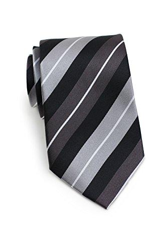 (Bows-N-Ties Men's Necktie Luxe Stripes Silk Satin Tie 3.25 Inches (Pewter, Silver,)