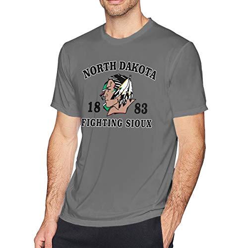 HEETENGGR O-Neck Fashion North Dakota Fighting Sioux Logo Short Sleeve T-Shirt for Mens and Boys Deep Heather XXL]()
