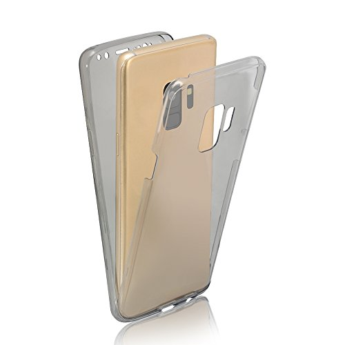Cubierta Protectora Funda para Samsung Galaxy S9 (5.8 pulgadas), Bonice TPU Bumper Carcasa de silicona Handy Cover Protectora 360 Grados Full Body Brillo brillante de Bling Carcasa Caso completo de pr A-Negro