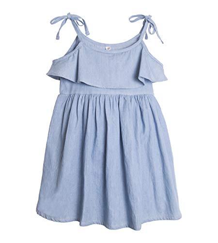 ContiKids Girls' Adjustable Bowknot Halter Denim Dress 11]()