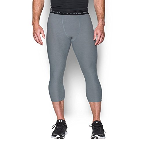 Under Armour Men's HeatGear Armour Twist ¾ Compression Leggings, Steel/Black, X-Large