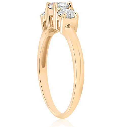 1ct Three Stone Diamond Engagement Anniversary Ring 14K Yellow Gold