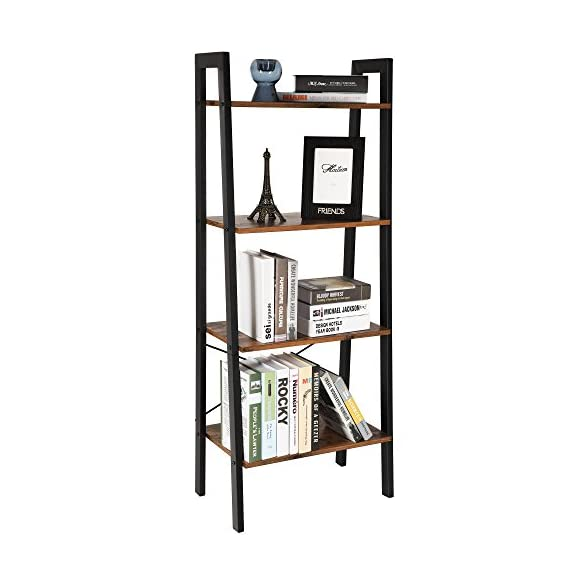 VASAGLE Industrial Ladder Shelf, 4-Tier Bookshelf, Storage Rack Shelves, Bathroom, Living Room, Wood Look Accent Furniture, Metal Frame, Rustic Brown ULLS44X - Built for extended use: Sturdy metal for the frame and durable chipboard for shelving; reinforced by crossbar on the Back; this ladder bookshelf is quite solid and has long service life 4-Tier open shelves: rustic ladder shelf provides ample space while making full use of the limited space, Perfect for storing any items you want to collect and display Stable for safe use: 4 protective caps on the bottom to ensure wooden ladder shelf stands stably while protecting your floor from scratches; Comes with Anti-toppling fittings to anchor it to the Wall for safe use - living-room-furniture, living-room, bookcases-bookshelves - 41DuDv91iLL. SS570  -