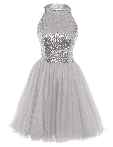 Homecoming Dress Cocktail Dresses Short Sequin Halter Open Back Evening Party Dress A line Silver US4