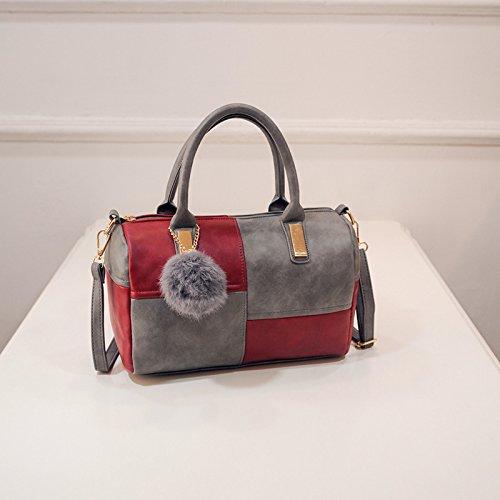 AASSDDFF PU Bolso para mujer Tote Bag Sac A Main High Quality Fashion Messenger Bag Mujer TopHandle Bolsas, B Rojo y gris B Rojo y gris