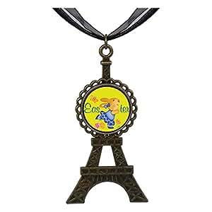 Chicforest Bronze Retro Style Easter Bunny Yellow Eiffel Pendant