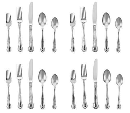Gorham Silver Flatware Patterns - Gorham Valcourt 18/10 Stainless - 20pc Set (Service for Four)