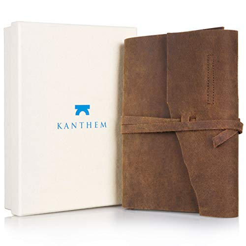 Handmade Leather Journal Notepad - Leather Bound Daily Unlined Notebook To Write In, Travel Diary And Art Sketchbook, Cotton Paper 8x6 Inches, Best Gift For Men And Women With A Gift Box Included