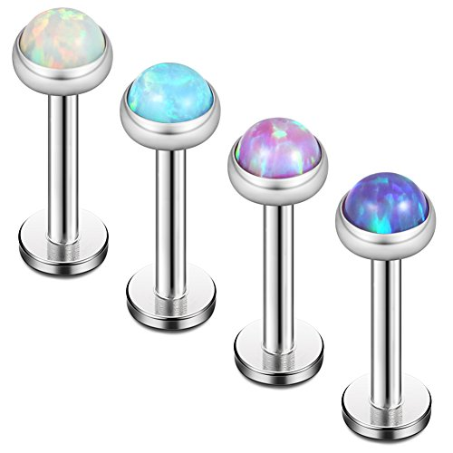 White Labret (Ruifan 4mm Opal Jeweled Internally Threaded Stainless Steel Labret Monroe Lip Ring Tragus Helix Earring Stud 16G 1/4