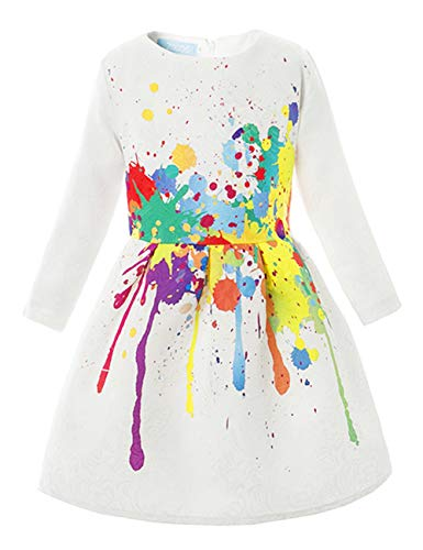 21KIDS Creative Art Colorful Paint 3/4 Sleeves Formal Easter Dress Print Summer Girls Casual Dresses,8,Long Sleeve(with Lining)]()