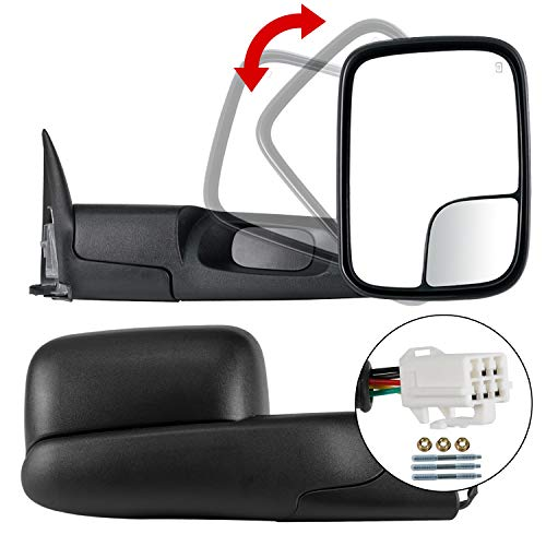 TURBO SII Pair Towing Mirrors Side Mirrors Compatible For 1998 1999 2000 2001 Dodge Ram 1500 2500 3500 With Power Heated,1 Year - Fold Towing