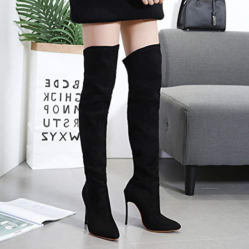 Tacón Botas Punta La Mujeres Sobre Rodilla Puntiaguda Muslo Aooel Black Bota Sexy Alto Medio Señoras OqP8Sd5