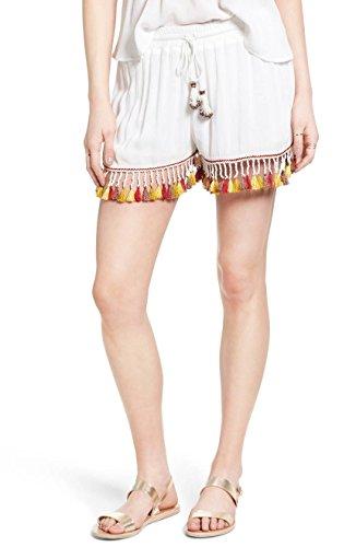 Band of Gypsies Women's Small Tassel Trim Shorts White S