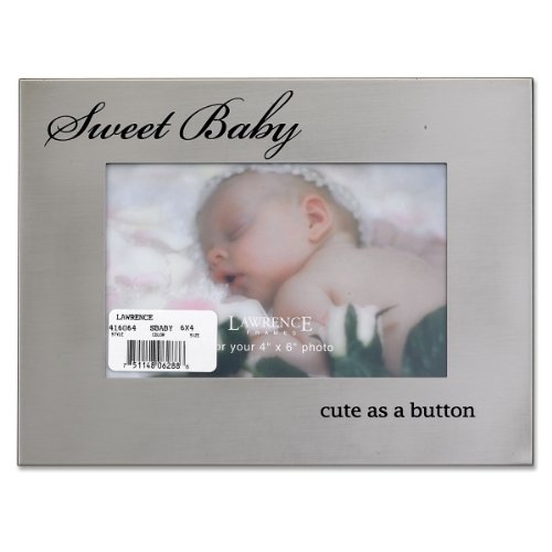 Lawrence Frames Brushed Silver Metal 4 by 6, Sweet Baby Picture - Silver Frame Baby Brushed