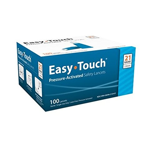 Easy Touch 821241 Safety Lancet, Pressure Activated, 21 g x 2.4 mm (Pack of 100)