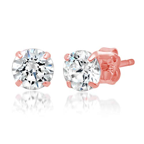 14k Solid Rose Gold ROUND Stud Earrings with Genuine Swarovski Zirconia | 1.0 CT.TW. | With Gift Box