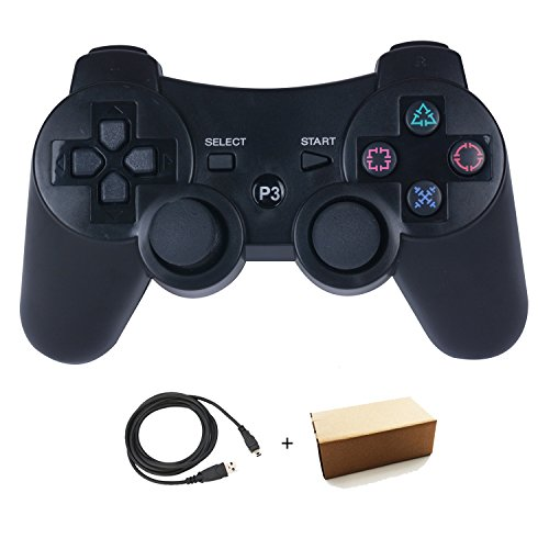 Kepisa Wireless Bluetooth Controller For PS3 Double Shock - Bundled with USB charge cord (Black)