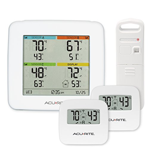 AcuRite 01096M Temperature & Humidity Station with 3 Indoor/Outdoor - Display Jumbo Fan