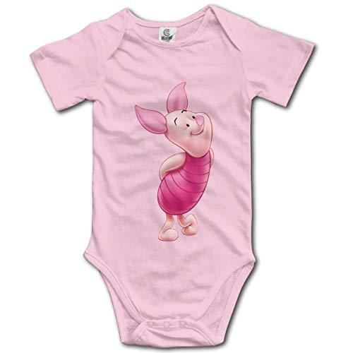 (NEXT DAY ONE Donkey Piglet Winnie Pooh Eeyore Baby Bodysuit Short Sleeve Onesies for Boys and Girls Pink)