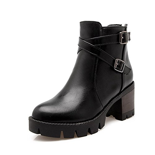 Black WeenFashion Kitten Zipper Toe PU Heels Round Women's Low Closed Boots top rCrPw7q