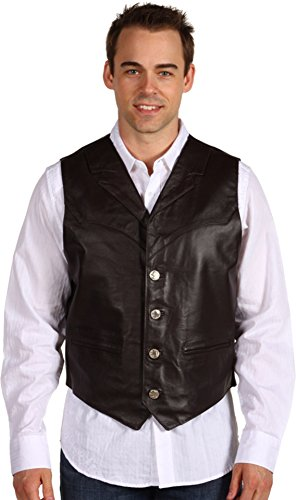 Roper Men's Nappa Notched Collar Leather Vest Brown (Notch Collar Leather)
