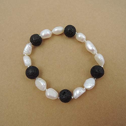 - 100% Nature Freshwater Pearl Bracelet with Lava Stones,6 Bracelet Only US 1.5 in One Bracelet