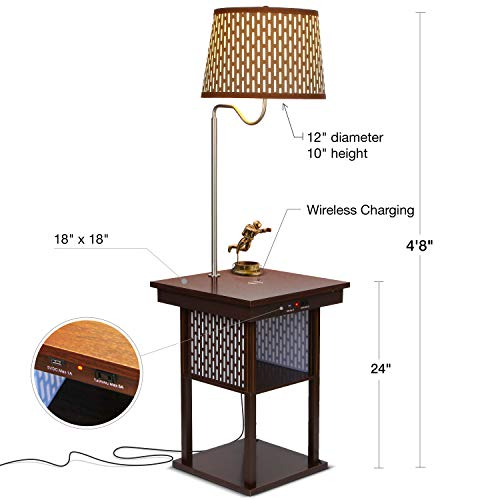 Brightech - Madison LED Floor lamp with Wireless Charging Pad & USB Port, Shelves & Bedside Table Nighstand with Lamp attached - Mid Century Modern End Table for Living Rooms - Havana Brown by Brightech (Image #1)