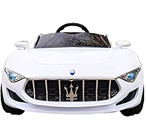 KidOne Licensed Maserati Alfieri Ride on Electric Toy Car for Kids 12V10A Battery Powered MP3 RC Parental Remote Controller Leather Seat White for Boys and Girls