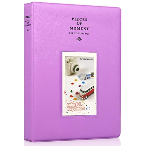 Big Trend 128 Pockets Mini Film Photo Album Book for Fujifilm Instax Mini 9 8 7s 70 25 50s 90 Instant Camera 3 Inch Picture Name Card Holder (Purple, 128 Pockets)