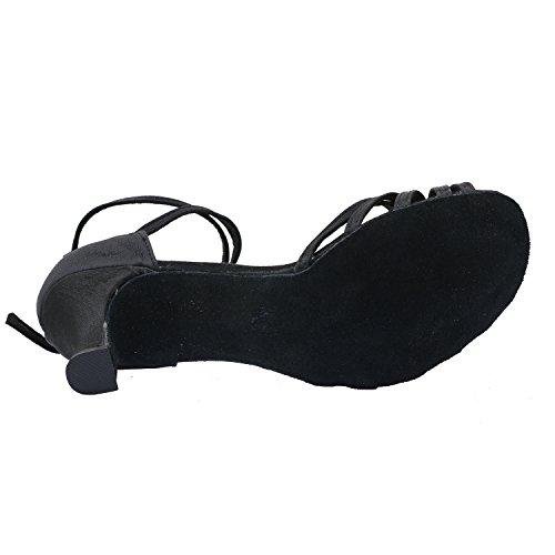 Danse de latines Satin la APTRO Noir 35 Chaussures en de Femme Salle qAn8F4