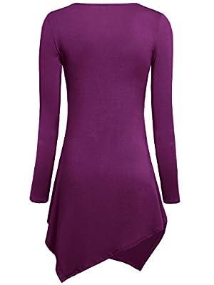 WAJAT Women's Long Sleeve Tie Dyed Hankerchief Hemline Tunic Top