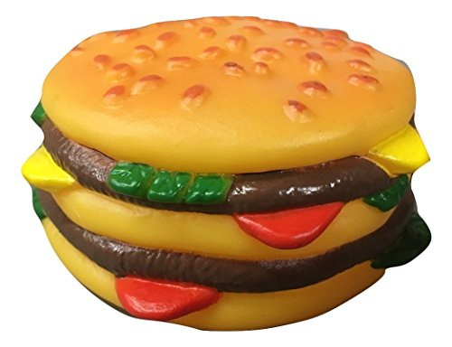 Rubie's Squeaky Cheeseburger Dog Pet Toy Vinyl