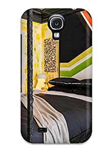 Ultra Slim Fit Hard ZippyDoritEduard Case Cover Specially Made For Galaxy S4- Teens Bedroom With Black Canopy Bed 038 Geometric Art