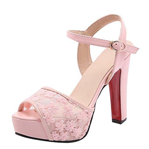 Mee Shoes Women's Charm Block High Heel Buckle Sandals Pink