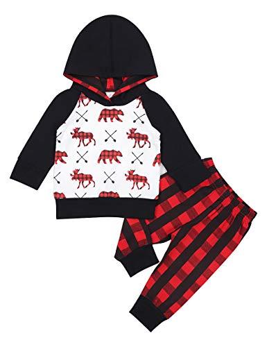 Baby Boy Clothes Bear Deer Printed Long Sleeve Hoodie Tops +Red Plaid Pants Outfit Set