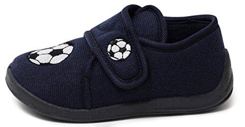 Jungen Kinder Fleece Hausschuhe blau Fussball Klett Puschen Slipper Schuhe mit Klettverschluß