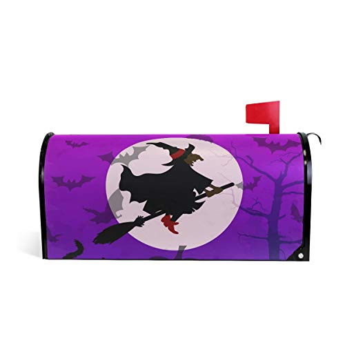 AUUXVA JOYPRINT Magnetic Mailbox Cover Halloween Cat Witch