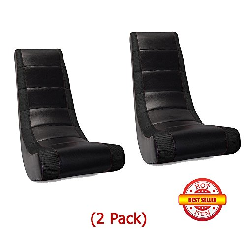 (2 Pack) Video Game Rocker Sanford Mesh Racing Stripe Black For Kids,Teens,Adults Boys Or Girls Seat Vinyl For Games,Tv Room 17W x 15.5D x 39H in.