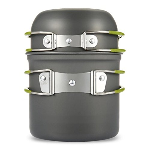 Outdoor Camping Cookware Utensils Hiking Picnic Backpacking Tableware Pot Pan 1-2persons Non stick Pot Pans Bowls