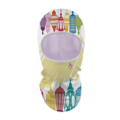 (YOLIYANA Lantern Sunscreen Mask Face Gini,Colorful Various Different Figures Framework Design with Crescent Moon and Stars Decorative for Outdoor,8.6