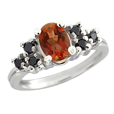 Gem Stone King 1.24 Ct Mystic Topaz Black Diamond Sterling Silver Ring
