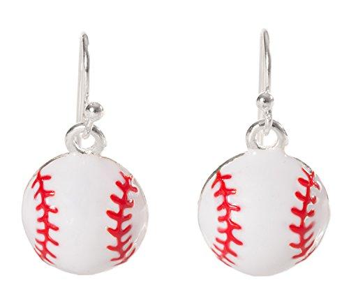 Artisan Owl - Enamel Baseball Softball Sport Dangle Earrings