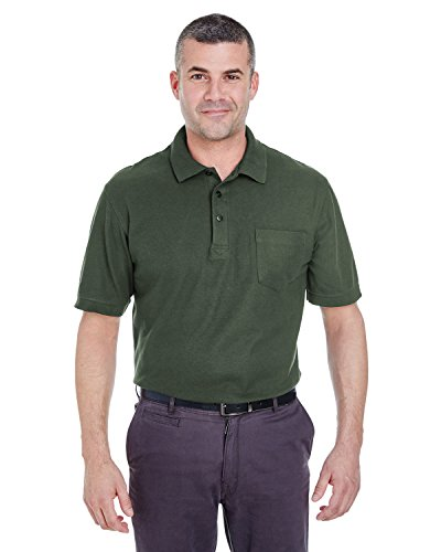 Ultraclub Adult Whisper Piqué Polo Shirt With Pocket, Frst Green, XX-Large
