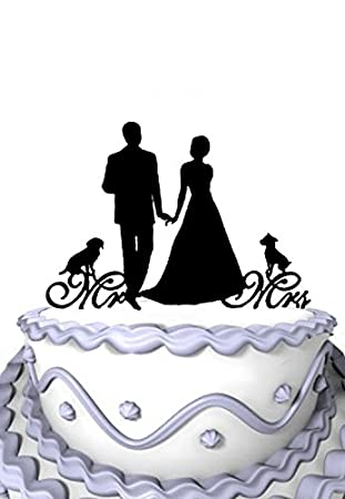 Meijiafei Mr&Mrs Bride and Groom with Two Dogs Pet Silhouette Wedding Cake Topper